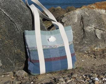 Womens Boho Bag, Summer Beach Tote Bag Fashion Bag, Large Purse Shoulder Bag Woven Hand Bag Recycled Rag Fabric Nautical Ocean Blue Tote Bag