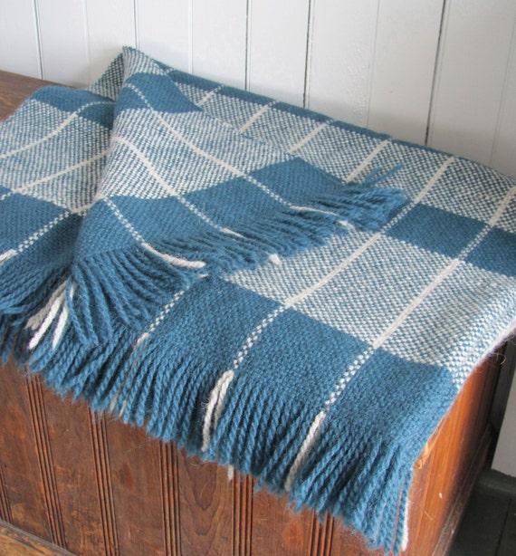 Wool Blanket Hand Woven Teal Amp Gray Windowpane By