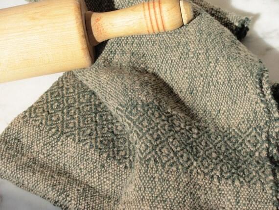 Gourmet Chef's Hand Towel, Handwoven Pine Green & Khaki Textured Cotton, Diamond Borders, Rustic Cabin, Farm Cottage Home Decor, Foodie