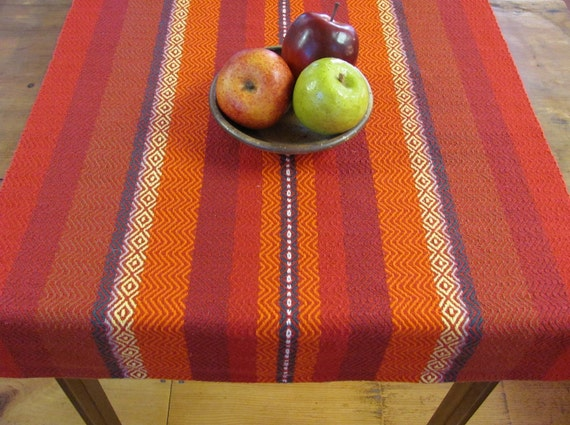 """Autumn Fire Red Orange Brown Yellow and Green Stripe Twill Handwoven Cotton Table Runner 42"""""""