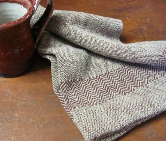 Chef's Towel, Hand Woven Cranberry Red & Khaki Cotton, Herringbone Borders, Cottage Home Decor, Cabin, Farmhouse Gourmet, Cooking Gift