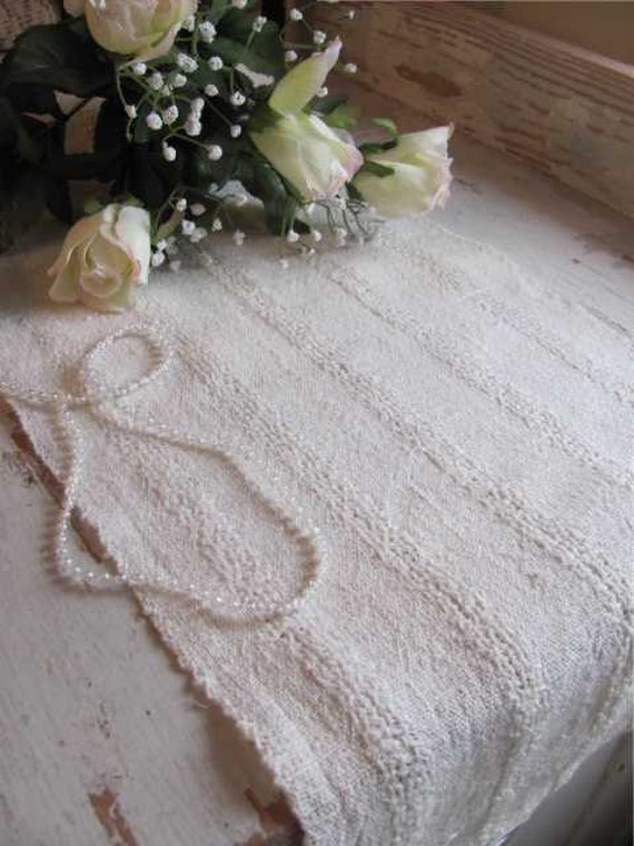 Modern Rustic Decor White Linen Table Runner, Vintage French Country Cottage Chic, Cabin, Farmhouse Decor, Artisan Handwoven Lace Stripe
