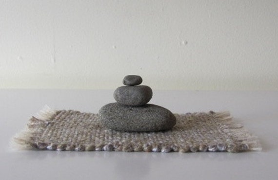 Zen Meditation Stacking Stone Cobble Rock Cairn, Natural Fiber Handwoven Mat, Shelf, Bookcase, Desk, Window Sill, Peace, Tranquility, Calm