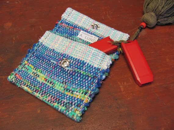 Mini Change Purse, Coin, Card Wallet, Small Bag, Handwoven Recycled Cotton Rag, Lunch Money, ID, Thumb Drives, Holiday Gift, Christmas, Blue