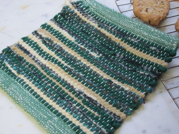 Hand Woven Kitchen Pot Holder or Hot Mat in Green & Beige Recycled Wool Rag for your Country Cottage or Farmhouse Decor