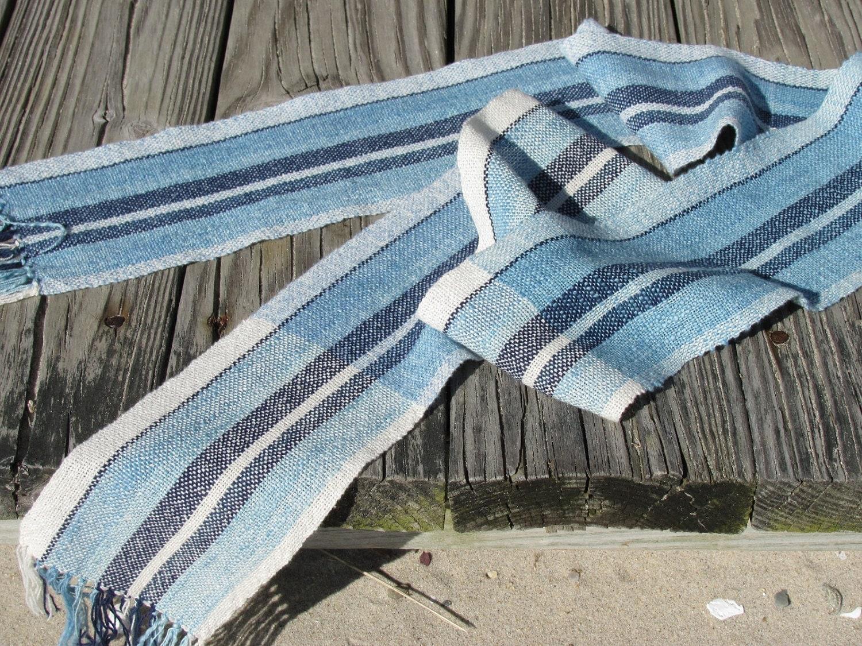 Simple life ocean blue stripe zen meditation yoga scarf eco for Zen simple living