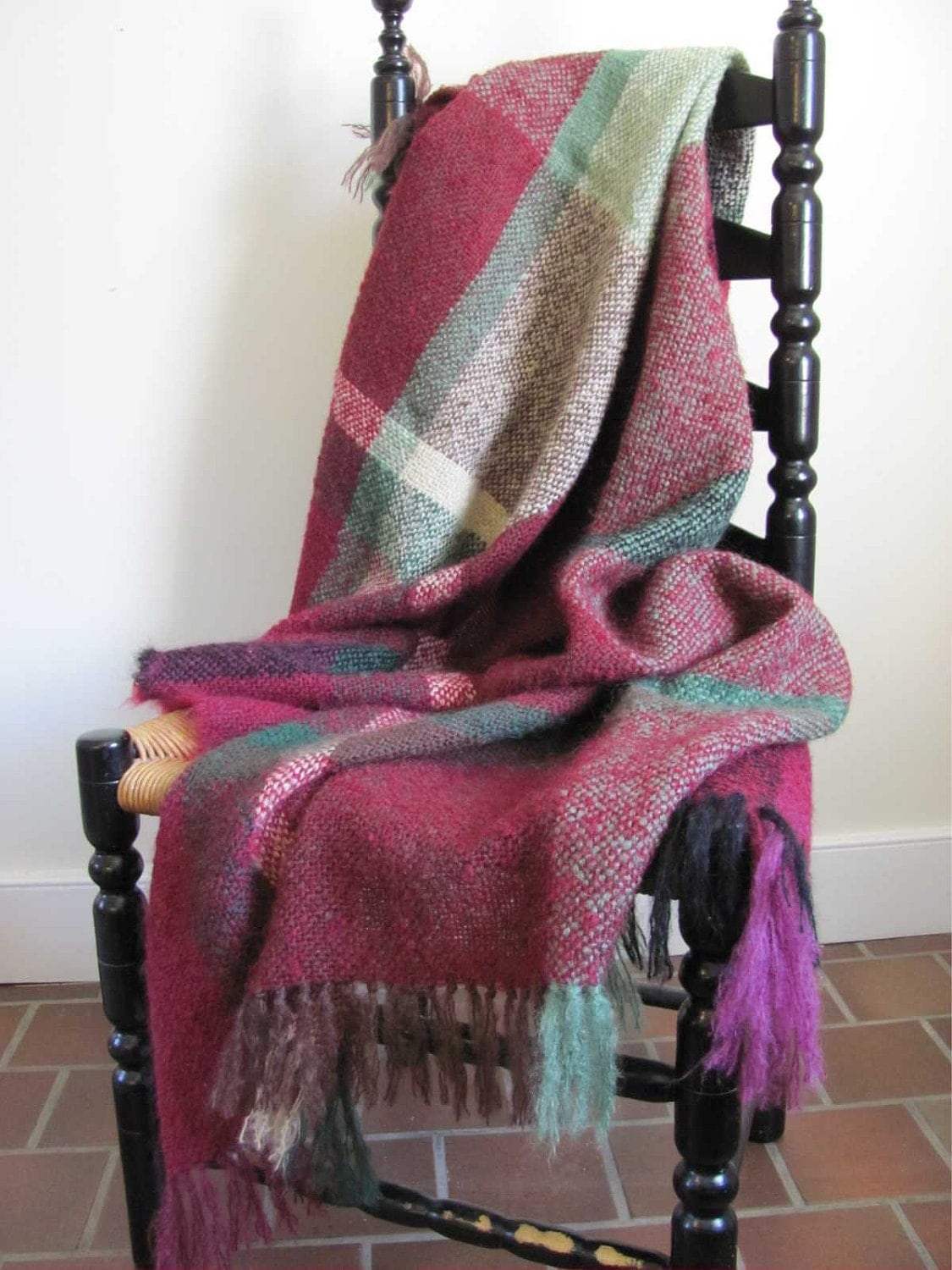 Modern Rustic Country Home Decor Plaid Mohair Blanket Cozy