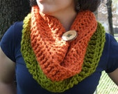 One Button Cowl in Mango Salsa - Ready to Ship