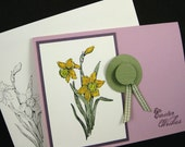 Price Slashed - Easter Card Handmade with Bonnet and Daffodils