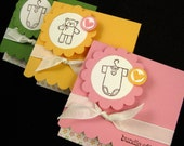 Baby Gift Cards Set of 3 Handmade  3x3 Note Cards for Baby Gift