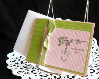 New Baby Girl Congratulations Card Handmade Welcome Baby New Parents
