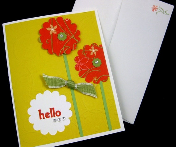 All Occasion Handmade Card Daffodil with Poppies for Spring and Summer