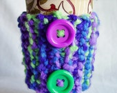 Purple and Green Button Coffee Cozy