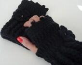 Black Hand Warmer fingerless Glove 01