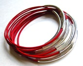 Red Bangles , Red Bracelets , Leather Bangles , Leather Bangles ,  Bracelet Set , Stacking Bracelets ,  Best Seller ,  Amy Fine Design