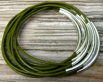 Green Bangles , Leather Bangles , Green Bracelets ,  Bangle Set , Stacking Bangle Bracelets , Best Seller , Amy Fine Design