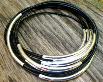 Leather Bangles, Black Bangles , Bangle Bracelets , Bracelet Set , Stacking Bangles , Best Seller , Amy Fine Design