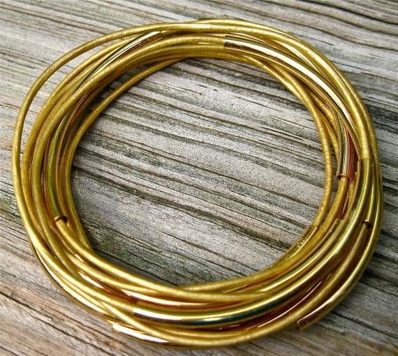 Leather Bangles , Misted Yellow ,  Set of 10 , Stacking Bracelets , Amy Fine Design