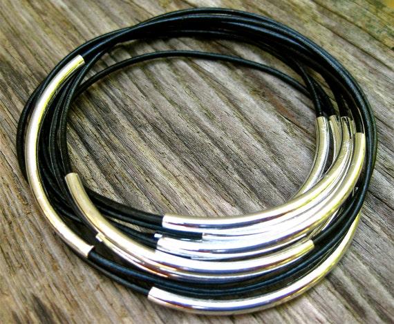 Leather Bangles, Black Bangles , Bangle Bracelets , Bracelet Set , Stacking Bangles , Best Seller , Amy Fine Design