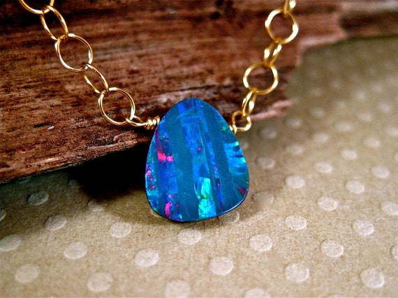 Gold Opal Necklace Simple Beauty October Birthstone Necklace Amy Fine Design