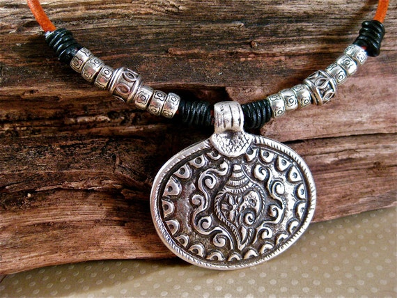 Shanka Shell Silver Pendant Necklace Leather Cord Necklace Sacred Symbol Hip Necklace Amy Fine Design