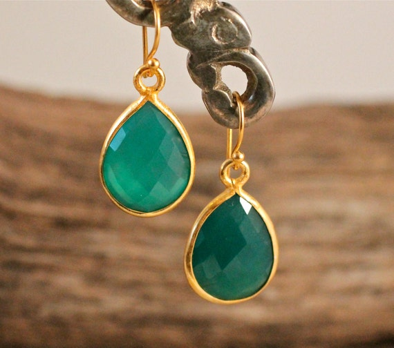 Emerald Green Earrings Small Teardrop Best Seller Amy Fine Design