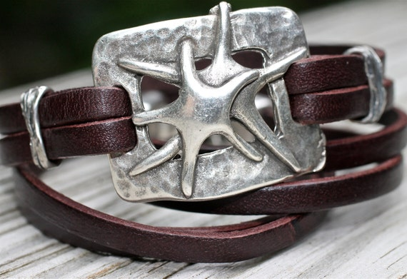 Silver Starfish Leather Bracelet Leather Wrap Bracelet French Roast Brown Amy Fine Design