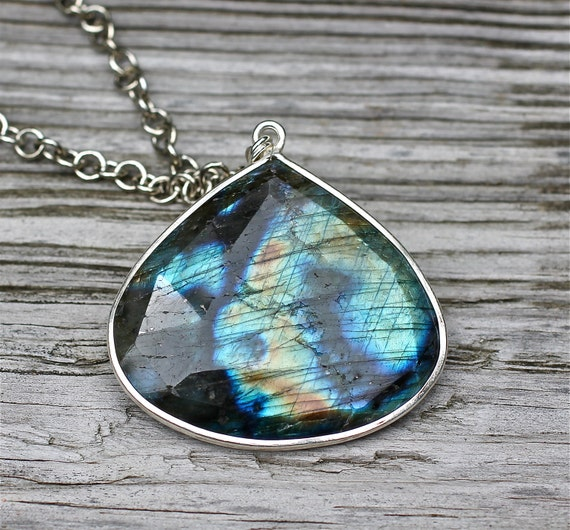 Large Labradorite Necklace Pendant Necklace Long Silver Necklace Amy Fine Design
