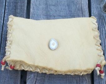 Leather clutch bag , leather clutch , medicine bag clutch , shaman leather bag, ceremony bag, special gift bag