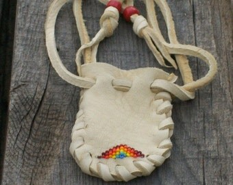 Beaded bag , Buckskin leather pouch , Beaded medicine pouch , Amulet bag