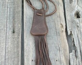 Medicine bag with fringe, Amulet bag with fringe, Neck bag with fringe, Fringed leather bag , Leather medicine bag , Necklace bag