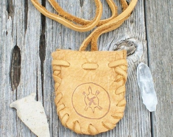 Leather medicine bag  with turtle totem ,  Buckskin neck pouch ,  Turtle medicine bag ,  Drawsting leather pouch or medicine bag