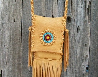 Crossbody bag ,   Leather phone bag ,  Fringed phone purse , Leather handbag
