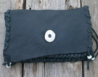 Black leather clutch , Soft leather clutch , Leather phone bag