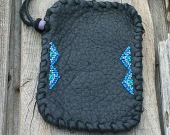 Leather phone sleeve ,  Black leather cell sleeve ,  Beaded phone case , Handmade phone bag