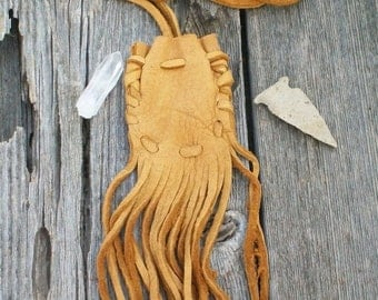 Buckskin medicine bag , Fringed leather pouch , Fringed neck bag , Leather necklace