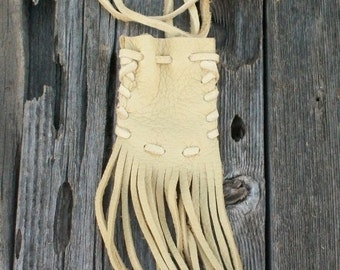 Fringed medicine bag , Buckskin pouch , Leather crystal bag