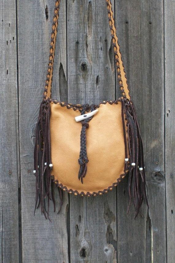 Fringed leather tote , Handmade crossbody bag ,  Crossbody shoulder bag , Leather handbag