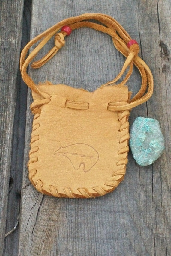 Leather drawstring pouch , Buckskin medicine bag with bear totem , Leather crystal bag
