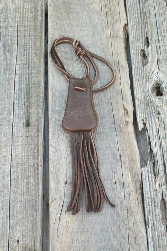 Fringed leather bag , Leather medicine bag , Necklace bag