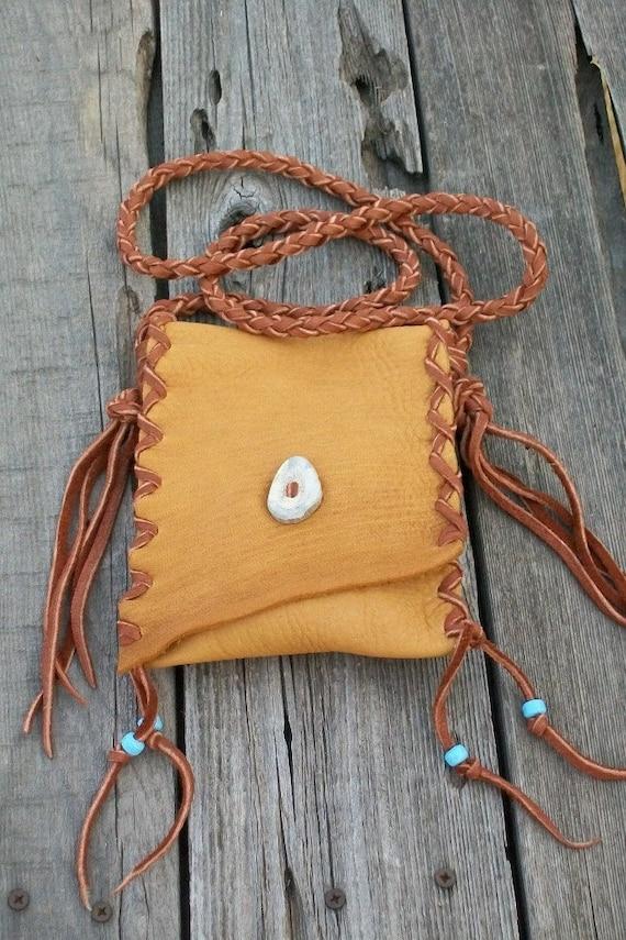 Bohemian leather bag   Cell phone bag   Crossbody handbag  Buckskin leather purse Handmade bag