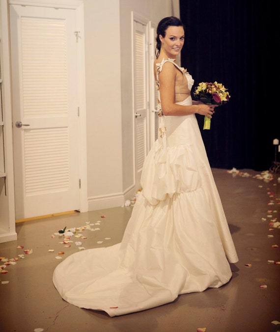 Magdalena- Custom Silk Wedding Gown with Double Bustle.