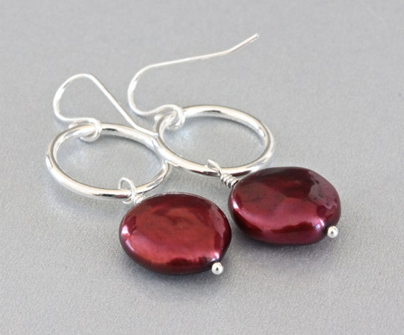 Burgundy Earrings, Freshwater Pearl Earrings, Sterling Silver Earrings, Pearl Bridal Jewelry