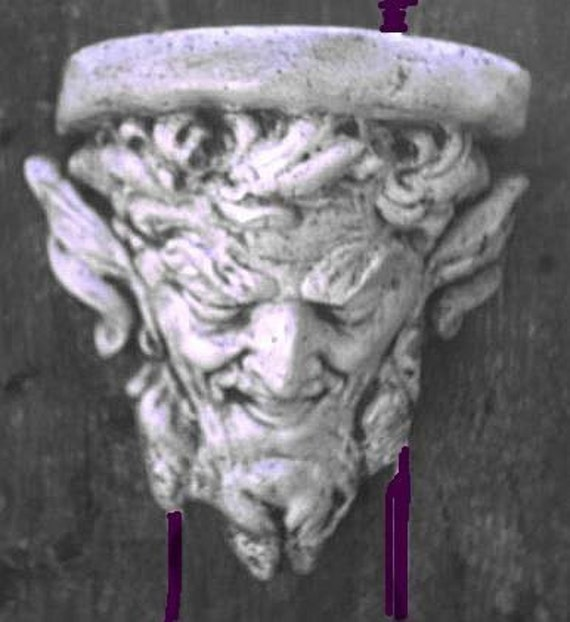 Gothic Greenman Satyr Pan Bracket Medieval Man Face Corbel