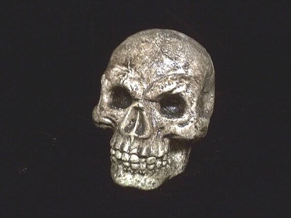 Human Full Skull Small Gothic Halloween Macabre Creepy Goth Graveyard Home Haunt Decor Spooky Brown Pirate Head Horror Bones Statue Prop