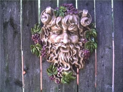 Gothic Bacchus Wall Hanging Plaque Greenman Leafman Wicca