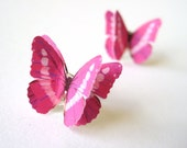 Upcycled Recycled Repurposed - Custom Color Butterfly Stud Earrings - Unique Jewelry Women