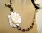 White Rose Necklace Flower Cabochon Necklace Antique Bronze Necklace CUSTOM COLORS