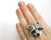 Raccoon Ring - Racoon Jewelry - Animal Ring - Cute Ring - Polymer Clay Jewelry - Polymer Clay Ring