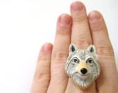 White Wolf Ring - Big Bad Wolf Jewelry Wolf Totem Wolf Spirit